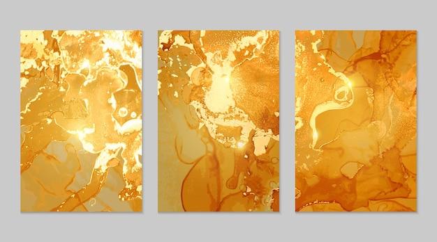 黄色と金色の大理石の抽象的なテクスチャ