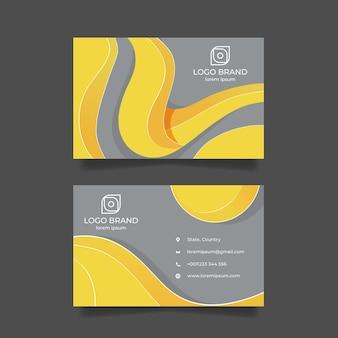 黄色と灰色の抽象的な名刺テンプレート