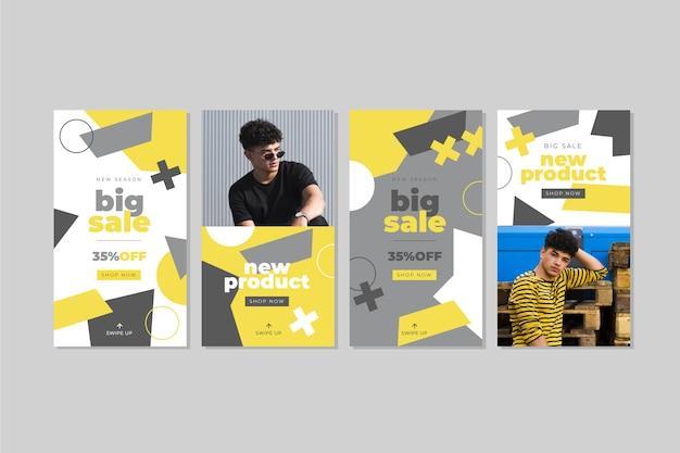 黄色と灰色の抽象的なinstagramストーリーコレクション