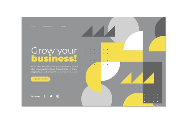 黄色と灰色の抽象的なランディングページテンプレート
