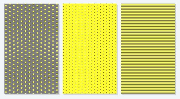 노란색과 회색 색상은 표지 디자인을 추상화합니다. 물방울 무늬, 줄무늬, 별. 트렌디한 기하학적 포스터입니다.