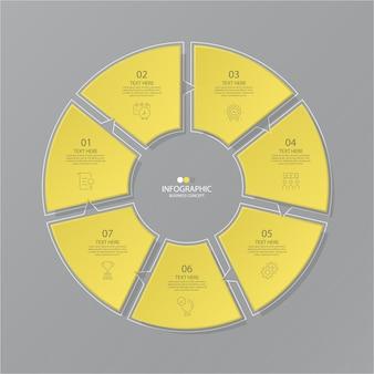 옵션이있는 원 인포 그래픽 용 노란색 및 회색 색상