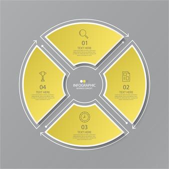 細い線のアイコンが付いた円のインフォグラフィックの黄色と灰色。インフォグラフィック、フローチャート、プレゼンテーション、webサイト、印刷物の4つのオプションまたはステップ。インフォグラフィックビジネスコンセプト。