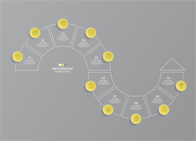 옵션이있는 인포 그래픽 용 노란색 및 회색 색상