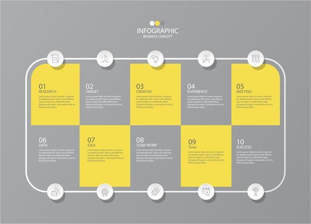 얇은 선 아이콘이있는 인포 그래픽을위한 노란색과 회색 색상. 인포 그래픽, 순서도를위한 10 가지 옵션 또는 단계