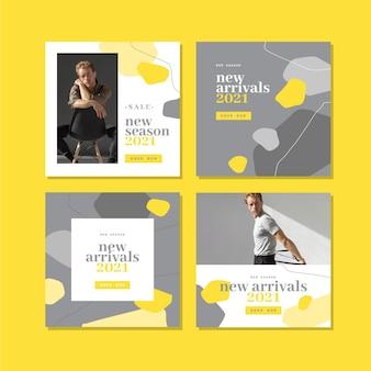 노란색 및 회색 유기 instagram 포스트 팩