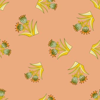 노란색과 녹색 벨 꽃은 파스텔 톤의 임의의 이음새를 실루엣으로 나타냅니다. 핑크 창백한 배경입니다. 포장지 및 패브릭 질감을 위한 그래픽 디자인. 벡터 일러스트 레이 션.