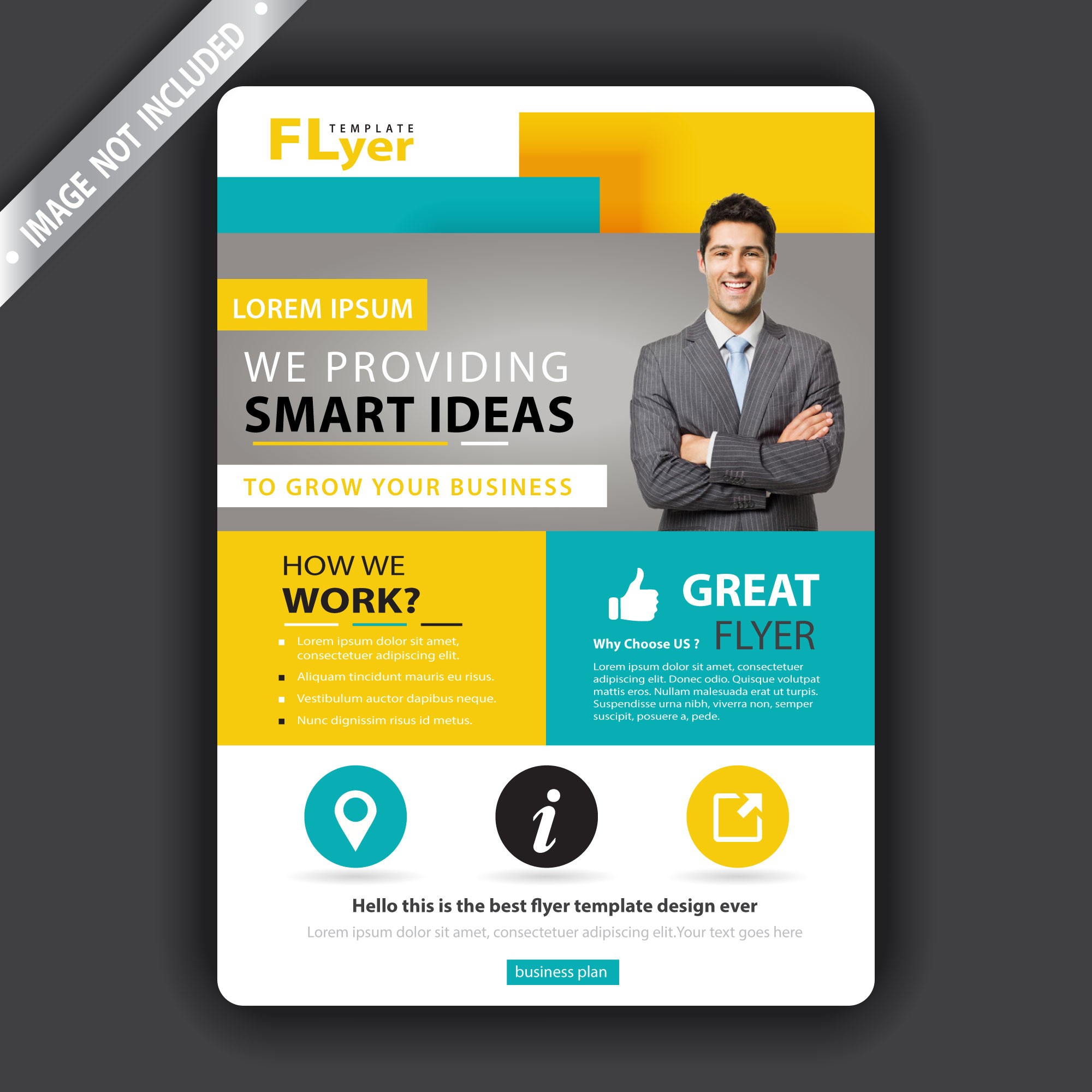 Yellow and green business flyer