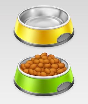 食品用の黄色と緑の犬用ボウル
