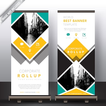 Yellow and green roll up banners