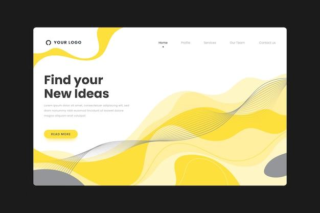 黄色と灰色の抽象的なランディングページ