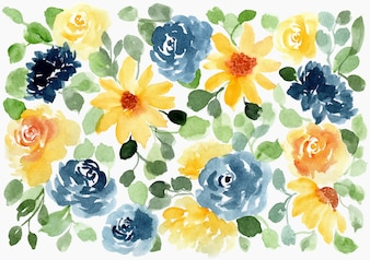 Yellow and indigo floral watercolor background
