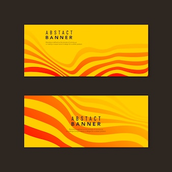 Yellow and orange abstract banner vectors