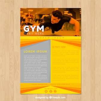 Yellow and orange gym cover template