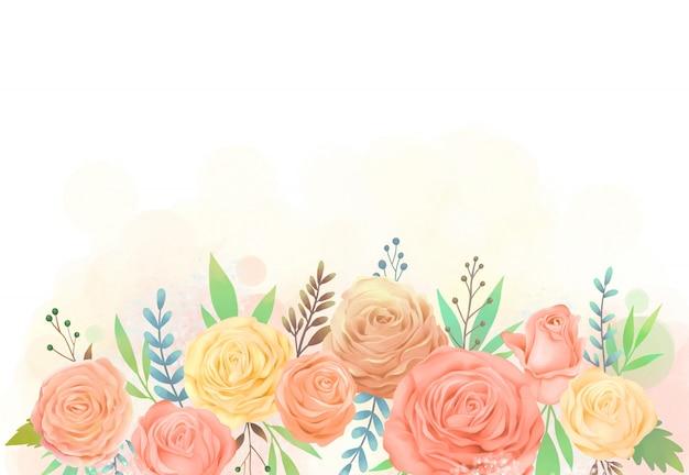 노란색과 주황색 장미 꽃 수채화 그림