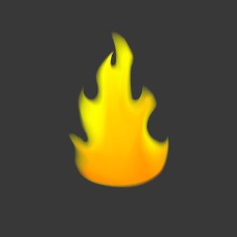 회색 배경에 노란색과 주황색 벡터 화재 기호