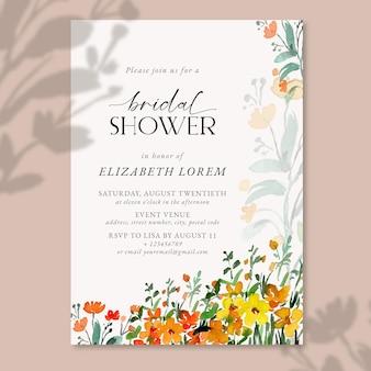 黄色とオレンジ色の水彩花の風景の結婚式の招待状のテンプレートエレガントでシンプル