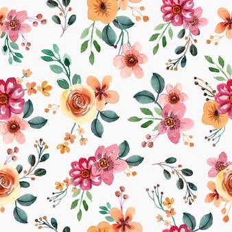 노란색과 분홍색 예쁜 꽃 수채화 원활한 패턴