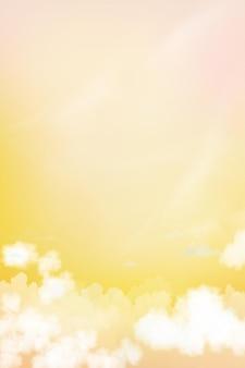 노란색과 분홍색 하늘 파스텔 배경 일몰과 함께 수직 극적인 황혼의 풍경