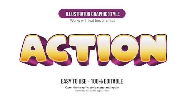 노란색과 보라색 3d 만화 편집 가능한 텍스트 효과
