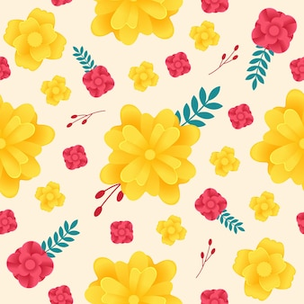 黄色と赤の花のパターン