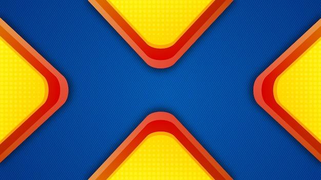 파란색 템플릿이 있는 노란색 및 빨간색 4개의 삼각형 배경
