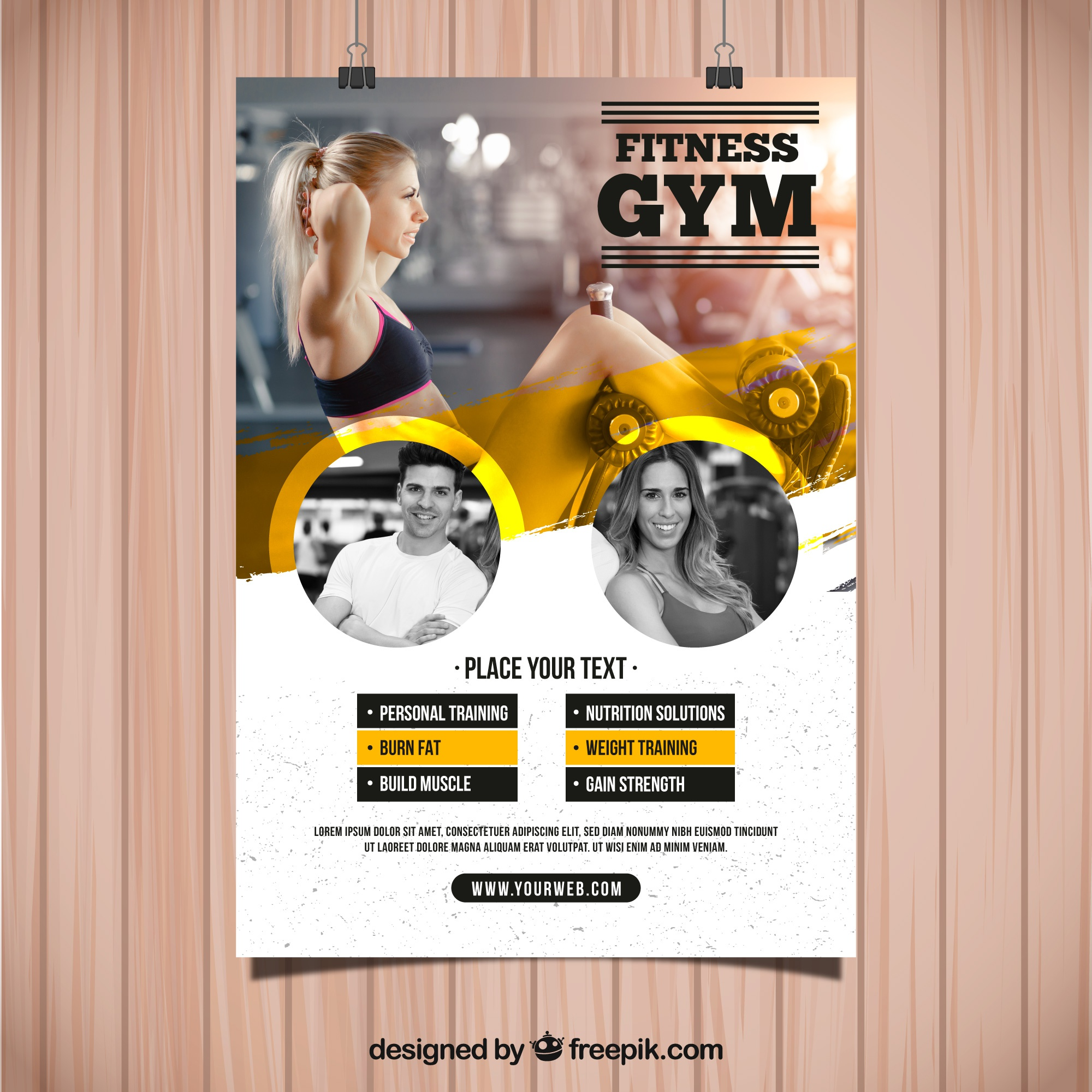 Yellow and white gym flyer template