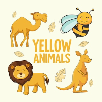 Yellow animals cartoon camel bee lion kangaroo