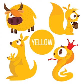 Yellow animals: yak, snake, squirrel, kangaroo.