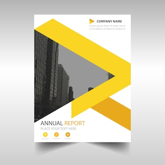 노란색 연례 보고서 책 표지