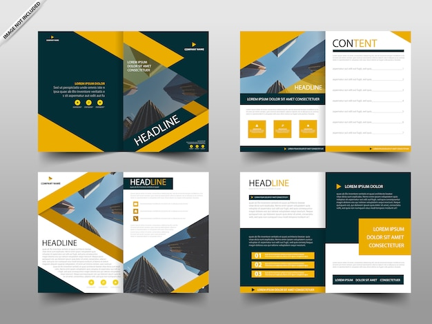 Yellow annual report brochure design template
