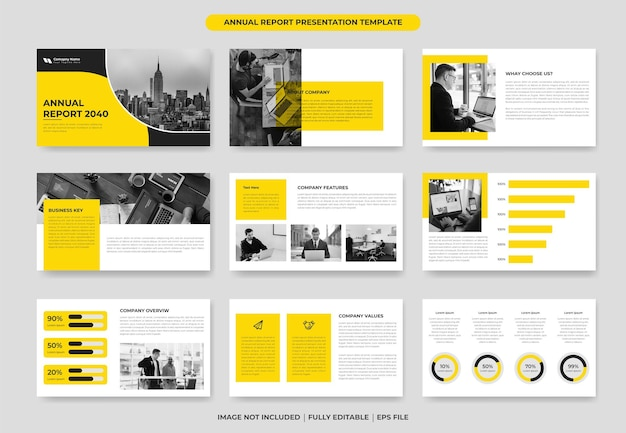 Yellow annual report powerpoint template design or proposal project template