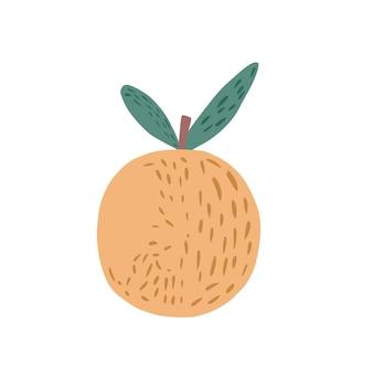 나뭇가지와 흰색 배경에 고립 된 두 개의 잎 노란색 사과. 낙서 스타일 벡터 일러스트 레이 션에 그려진 전체 애플 손.