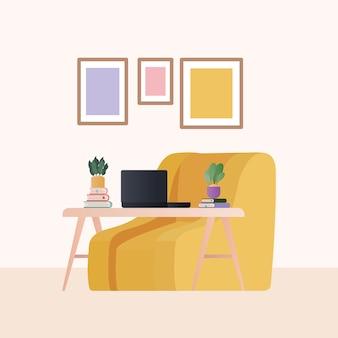 ラップトップの植物とリビングルームのデザインのフレーム、家の装飾、インテリア、リビング、アパート、住宅をテーマにした黄色のアームチェア