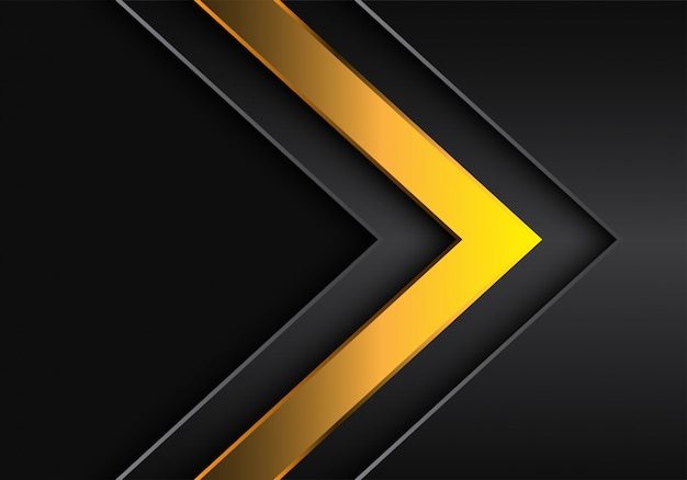 Yellow arrow direction dark grey blank space background.