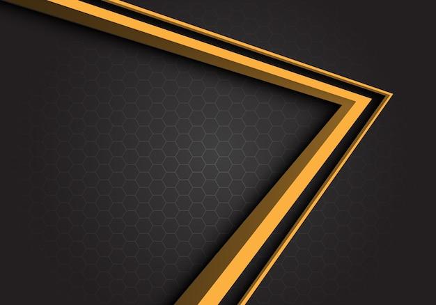 黄色の矢印方向の灰色の六角形のメッシュの背景。