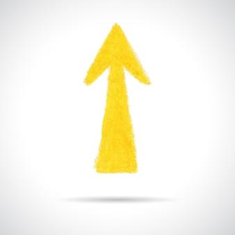 노란색 화살표를 가리키는입니다. 오일 파스텔 크레용으로 그린 손. 흰색 배경에 고립 된 추상 디자인 요소입니다.