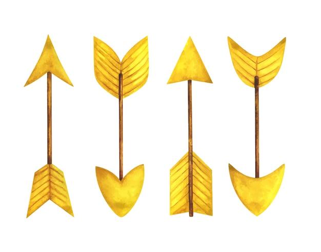 Желтая стрелка. набор акварельных иллюстраций с указателями разной формы