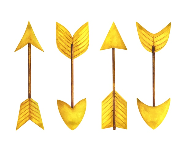 Yellow arrow. set of watercolor illustrations with pointers of different shapes