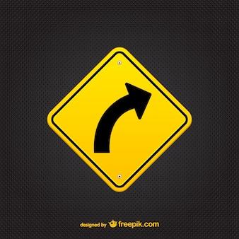 Yellow arrow sign