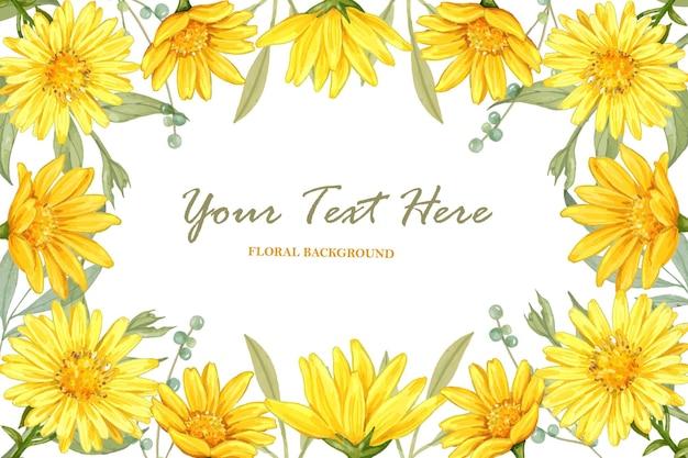 Желтая астра цветочная акварель