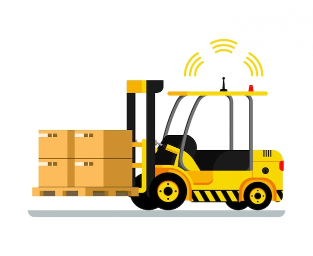 Yellow automatic delivery forklift car full of box
