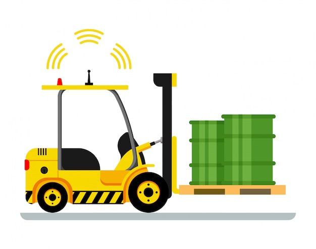Yellow automatic forklift car driving green barrel