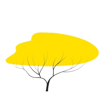 Yellow autumn tree doodles vector any season winterautumn flat styleelement for games