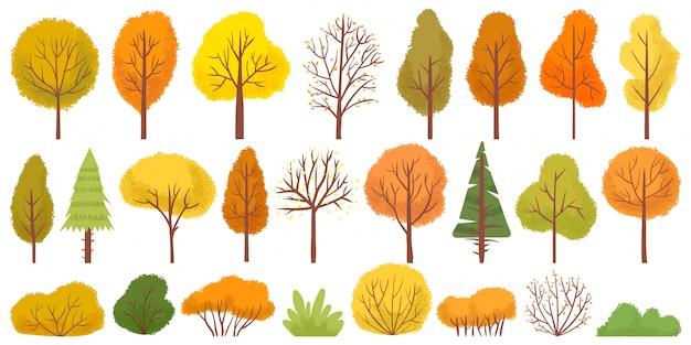 黄色の秋の木々。カラフルな庭の木、秋の庭の茂み、秋の季節の木の葉イラストセット