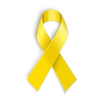 흰색 바탕에 노란색 인식 리본입니다. 뼈암 및 군대 지원 기호