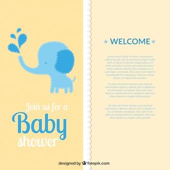 Giallo doccia baby card con un elefante