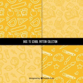 Yellow back to school pattern collection