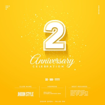 Yellow background for the 2nd anniversary party invitation