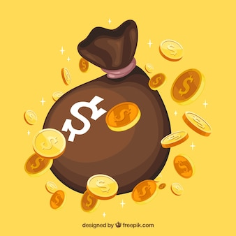 Yellow background of bag with money